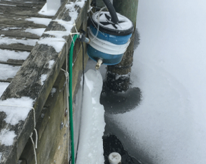 EQSphere deployed on dock in snow and ice